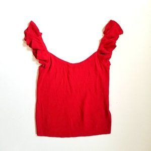 7 For All Mankind Ruffle Sleeve Knit Tank Top